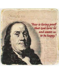 Ben Franklin Beer Quote on Coaster