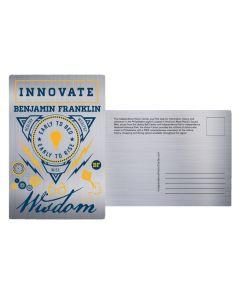 Ben Franklin Collage Aluminum Postcard